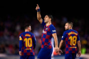 la liga live-luis suarez celebrating after scoring goals with messi and alba