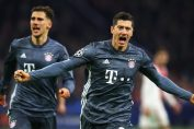 robert lewandowski-robert lewandowski in bayern munich away kit after celebrating the goal