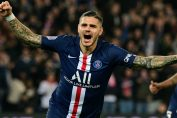 ac milan news-mauro icardi in blue psg jersey after scoring the goal against marseille