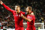 bernardo silva-bernardo silva and cristiano ronaldo celebrating after scoring goal