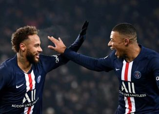 psg news-neymar and mbappe celebrating after goal in blue psg jersey