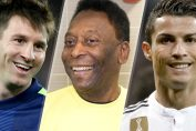 pele latest news-pele messi and ronaldo smiling