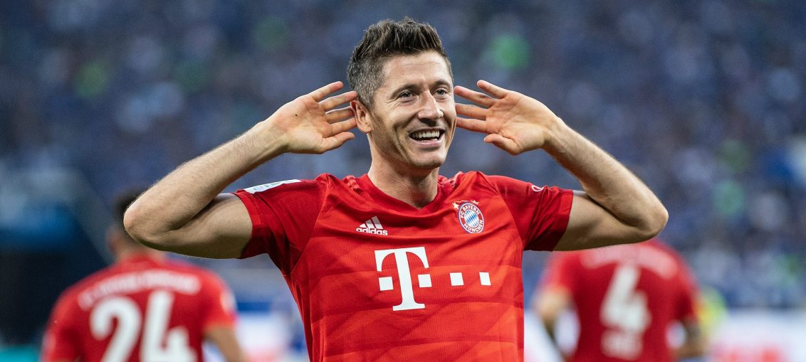 lewandowski bayern munich-robert lewndowski in red bayern kit after scoring the goal