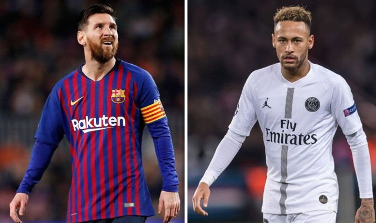 neymar to barcelona news-neymar in white paris jersey and messi in blue red barcelona jersey