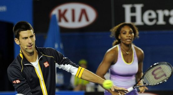 western and southern open tennis-djokovic and serena playing tennis together