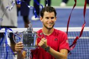 dominic thiem us open-domini thiem in red t shirt with us open title