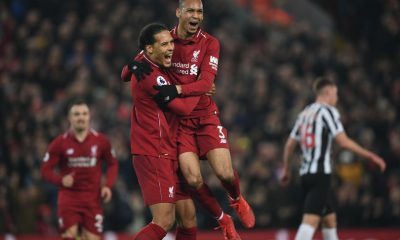 virgil van dijk liverpool- virgil van dijk with fabinho in red liverpool jersey