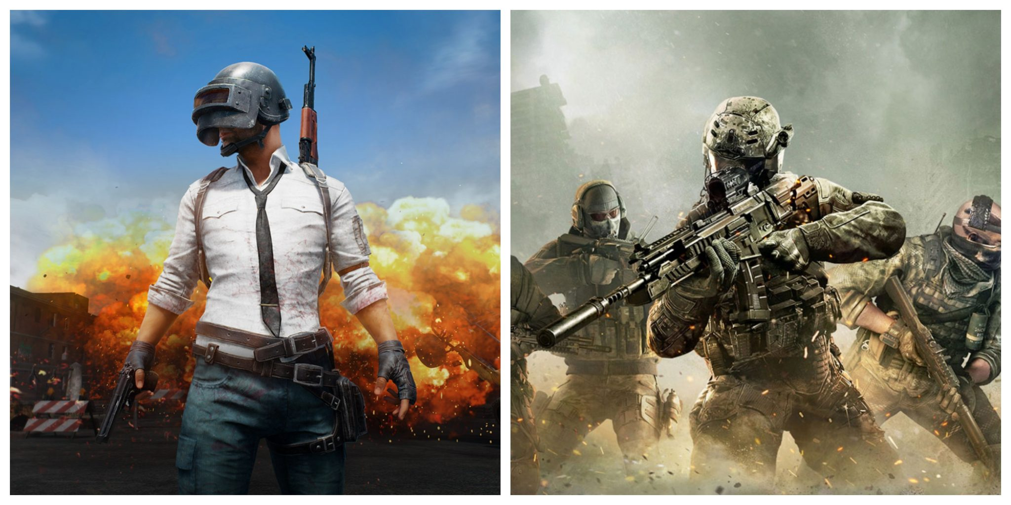 pubg vs call of duty- logo of pubg and call of duty