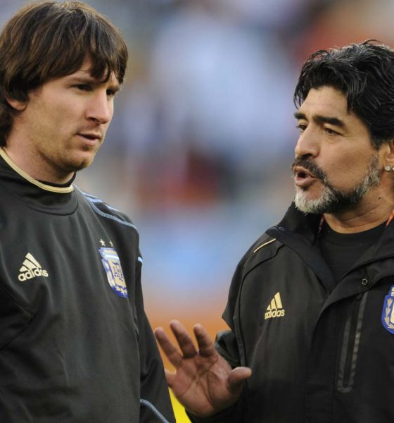 lionel messi vs diego maradona- messi with maradona in argentina training