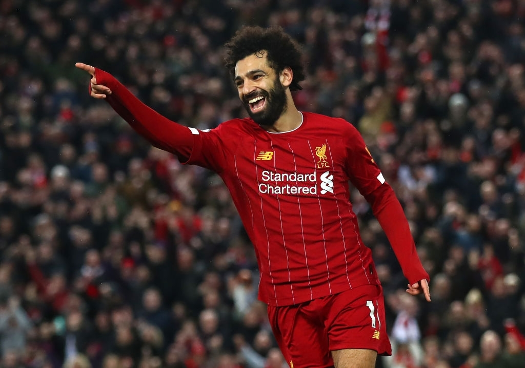 best strikers in premier league 2020/21- mohamed salah in liverpool red jersey