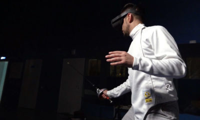 sports industry trends 2021- player with white jersey and vr headset in eyes