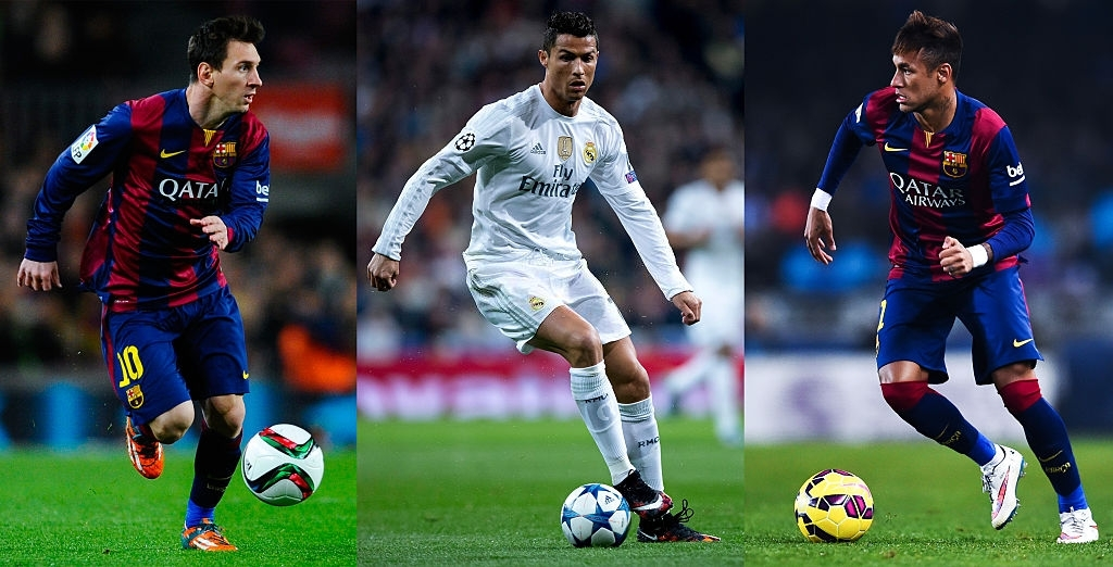 richest footballers in the world 2021- messi ronaldo and neymar kicking the ball